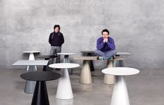 Pedrali, indoor/outdoor tables Ikon, glass or powder coated steel top, PP injected base. Design Pio and Tito Toso.