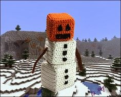Finn's Pick: Crochet Snow Golem From Minecraft Made by Di-Day. Learn all about the Snow Golem. Minecraft Crochet Patterns, Minecraft Pattern, Minecraft Toys, Lego, Minecraft Creations, Minecraft Crafts, Minecraft Party, Minecraft Knitting, Minecraft Stuff