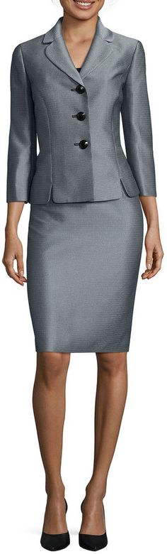 LE SUIT Le Suit 3/4-Sleeve Mini Herringbone 3-Button Jacket Skirt Suit