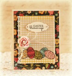 handmade card: Easter Blessings ... like the stamping on printed paper for the eggs ...
