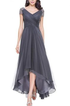 A Line Princess V-Neck Asymmetrical Tulle Evening-Dress With-Ruffle Beading Sequins,Cap Sleeves Long Chiffon Navy Blue Burgundy High Low Beading Prom Dress
