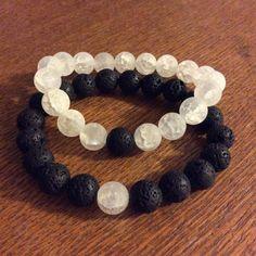 Matching Couples Bracelets Yin Yang black and por GypsyAquarius