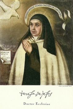 """St. Teresa of Avila. Painted by Fray Juan de la Miseria. 1576. The ribbon reads """"I shall forever sing of the mercies of the Lord."""""""