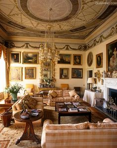The ceiling of the Music Room was designed by Gabrielli and the room has since been restored completely and turned into a comfortable sitting room in Ireland.