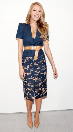 Blake Lively in an embroidered denim skirt and nude heels