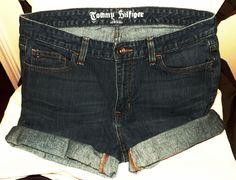 """TOMMY HILFIGER Cut-Off Cuffed Denim Jeans Shorts 34"""" x 3"""" Womens Sz 12 Rise 10"""" #TommyHilfiger #CutOff"""