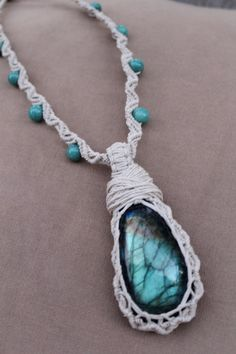 Etsy Transaction - Cyber Monday Sale Wrapped Labradorite and Limestone Hemp Macrame Necklace - Natural Bohemian Hippie, PerpetualSunshine111