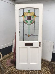 STAINED GLASS FRONT DOOR PERIOD OLD RECLAIMED ANTIQUE LEADED NOUVEAU VICTORIAN 1