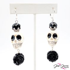 Join your fellow ghouls in creating a spooky pair of earrings featuring the New Skeleton Bead Strand from Jesse James Beads, available at your local Walmart! Diy Jewelry Projects, Jesse James, Halloween Jewelry, Nightmare Before Christmas, Silver Color, Skeleton, Join, Jewelry Making, Walmart