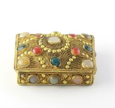 Vintage Gilded Copper Semi Precious Carnelian Agate cabochon Tibetan Trinket Box