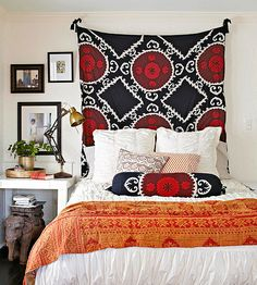 Turn your favorite fabric or tapestry into a headboard replacement! Check out the DIY idea here: http://www.bhg.com/rooms/bedroom/headboard/cheap-chic-headboard-projects/?socsrc=bhgpin032915tapestryheadboard&page=13