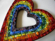 Rainbow Heart Mosaic Mirror Original Art by TheMosartStudio