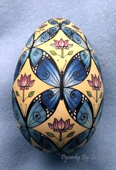 Blue Morpho BUtterflies Ukrainian Easter Egg Pysanky By So Jeo