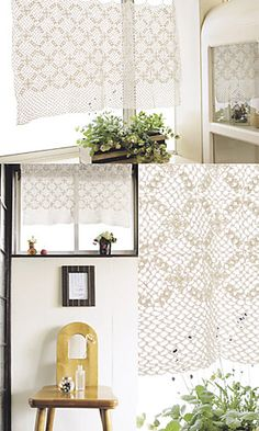 Free Pattern  Ravelry: Yawaraka Lace Café Curtain pattern by Pierrot (Gosyo Co., Ltd)