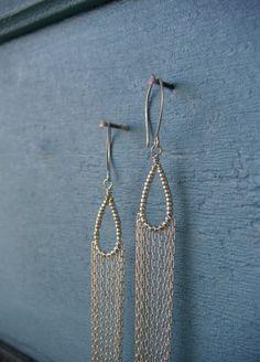 Long Silver Chain Earrings