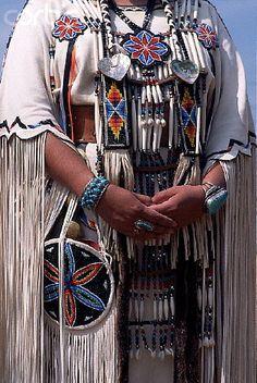native beaded dress | Native American Dancer Wearing a Beaded Buckskin Dress and Hairpipe ...