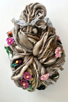 Yospun Handspun Yarn on etsy. Hand sewn flowers, designed from vintage flower…