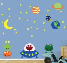 Cute Aliens Stickers for Space Kids Bedroom Theme