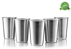 Modern Innovations Stainless Steel Pint Cups, Set of 5, 16 Oz Tumblers Made of Unbreakable BPA Free Shatterproof SS That Is Dishwasher Safe and Great for Camping, Picnics, Daily, Formal & Outdoor Use - DURABLE & REUSABLE The Modern Innovations Stainless Steel Pint Cup, made of solid and durable 18/8 stainless steel, will be by with you for a long time. A smart and classy replacement for wasteful single-use plastic cups, these Stainless Steel Pint Cups are Mother Nature's best friends…