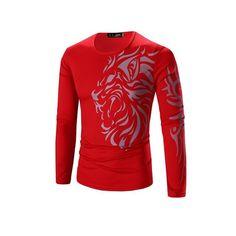 0221ef89c3d Men s T-shirt O-Neck Long Sleeves Slim Dragon Prints T-Shirt Man Casual  Undershirt Top Tees Plus Size 3XL