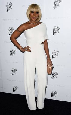 """Mary J. Blige from Stella McCartney Autumn 2016 Presentation  The """"Just Fine"""" singer stunned in a white jumpsuit to celebrate the fashion designer."""
