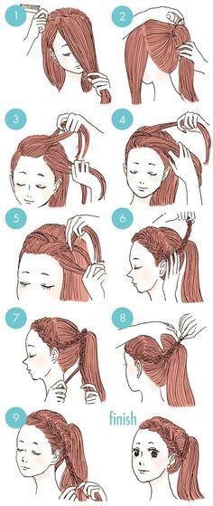 New hair styles cute for school hairdos 37 ideas Hairstyles For School, Ponytail Hairstyles, Braided Hairstyles, School Hairdos, Drawn Hairstyles, Ladies Hairstyles, Curly Ponytail, Bridal Hairstyle, Natural Hairstyles