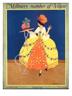 Vogue Cover - September 1915    Illustration of woman in yellow 18th century style dress and hat looking at hat with green feather.