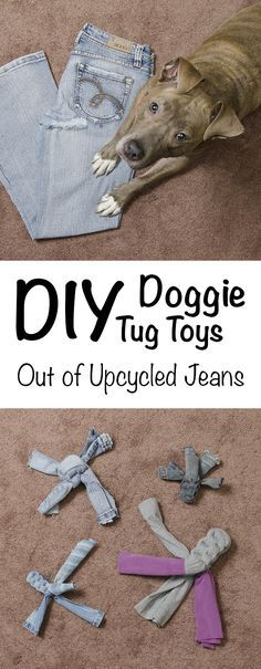 DIY Doggie Tug Toys Tutorial - Upcycle Your Jeans and Yoga Pants - Learn how to make a strong tug toy for your dog in this easy, do-it-yourself tutorial. Your old jeans could be Fido's new toy!