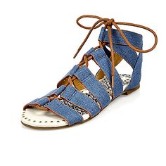 Blauwe denim vetersandalen voor meisjes - sandalen - schoeisel - meisjes