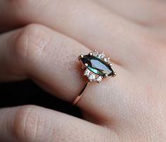 Teal Sapphire Ring Sapphire Diamond ring Sapphire Engagement