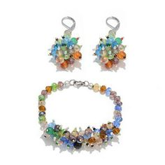 Jewels of India Agate, Glass Lever Back Earrings and Bracelet (Size 7.5) in Silver Tone with Stainless Steel 86.450 Ct.