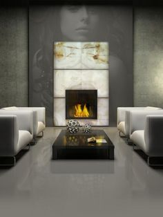 backlit onyx fireplaces backlighting onyx fireplaces surrondings backlit onyx fireplace walls panel led light panels for fireplace Home Design Photos led light Fireplace Facing, Home Fireplace, Modern Fireplace, Fireplace Surrounds, Fireplace Design, Modern Interior, Home Interior Design, Interior Architecture, Interior Decorating