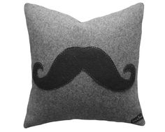 Moustache Pillow, Black Mustache on Gray Cushion Cover, Throw Pillows, Man Cave Decor, Guys Couch Pillow, Unique Gift 18x18. $49.00, via Etsy.