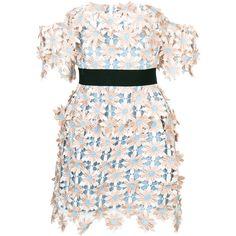 Self-Portrait 3D Floral mini dress (€415) ❤ liked on Polyvore featuring dresses, pink dress, floral print dress, self portrait dress, floral dresses and botanical dress