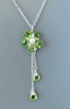 Sterling Silver Peridot Flower Necklace Green by PurplePoemCraft