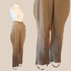 vtg 30s Leather patch Equestrian wool JODHPURS horse ridding PANTS unisex #Equestrian Starting bid $24.99