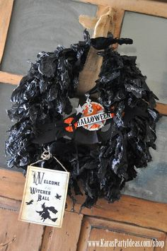 DIY garbage bag wreath! Witches Ball Halloween Party via Kara's Party Ideas Ideas -www.KarasPartyIdeas.com