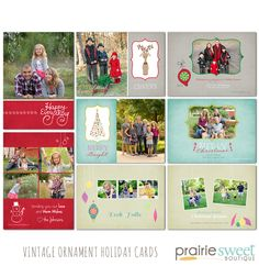 Vintage Ornaments Holiday Card Collection | Prairie Sweet Boutique Photoshop Templates