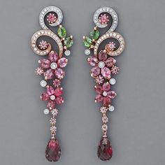 Art Nouveau Pink Tourmaline Earring