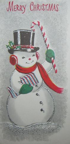 Vintage Christmas Card Silvered Snowman Candy Cane Hat Gift Greeting