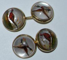 Essex Crystal gaming birds cufflinks from the 1930s
