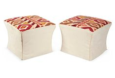 Playful Brunschwig et Fils fabric on ottomans seat