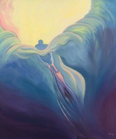"God pulling you out of the wave, prophetic art. God the Father greets with delight the briefest whisper of prayer and the briefest moment of our time."" By Elizabeth Wang Christian Paintings, Christian Art, Jesus Pictures, Art Pictures, Image Theme, Images Of Christ, Prophetic Art, Biblical Art, Bible Art"