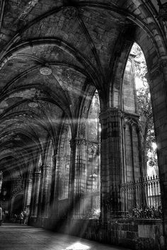 Cloister of the Cathedral of Barcelona - Catalonia, Spain Beautiful Buildings, Beautiful Places, Architecture Cool, Baroque Architecture, Ancient Architecture, Slytherin Aesthetic, Kirchen, Aesthetic Wallpapers, Light In The Dark