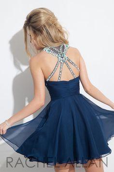 Rachel Allan 4078 Chiffon Homecoming Dress- BACK VIEW