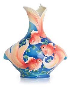 Franz Collection Porcelain Golden Prosperity Goldfish Vase (Limited Edition 1,688)