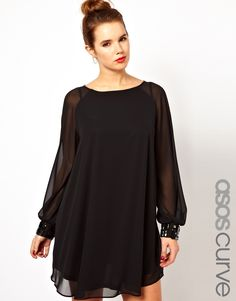 Find the best selection of ASOS CURVE Shift Dress with Jewelled Cuff. Shop today with free delivery and returns (Ts&Cs apply) with ASOS! Plus Size Womens Clothing, Plus Size Outfits, Plus Size Fashion, Clothes For Women, Glam Dresses, Mob Dresses, Casual Dresses, Asos Dress, Dress Up