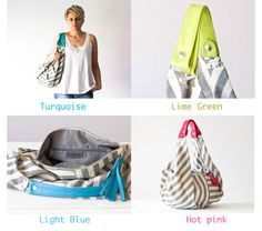Hobo sac en toile de coton rayé sac à main gris et blanc par milloo