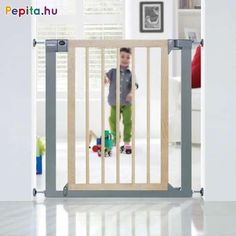 A pressure fitted safety gate with a modern metal and birch wood design. The gate is easy to use with a 'push to shut' closing mechanism which simply clicks shut. For peace of mind this gate has a sturdy Lindam U-shaped 'power frame' and a dual action ope Stair Gate, Door Jamb, Security Door, Metal Structure, Types Of Doors, Baby Safety, Wooden Doors, Wood Design, Natural Wood