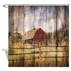 Country Shower Curtain   Autumn Gifts U003e Autumn Bathroom Décor U003e Western  Country Red Barn .